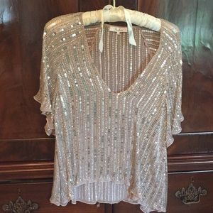 Parker silver sequined high low top